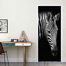 WZKED 3D Animal Zebra Door Mural Wallpaper for
