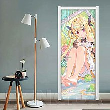 WZKED 3D Cartoon Girl Door Mural Wallpaper for