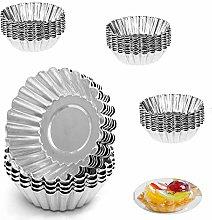 WZYTEU 40 Pcs Egg Tart Molds, Silver Aluminum Egg