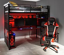 X Rocker Gaming Metal Bunk Bed - Black