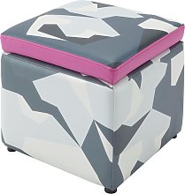 X Rocker Geo Camo Storage Cube - Grey & Pink