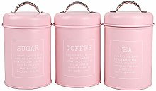 X021 Set of 3 Metal Food Storage Tin Canister/Jar