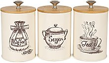 X023S Set of 3 Metal Food Storage Tin Canister/Jar