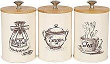 X023S Set of 3 Metal Food Storage Tin Canister/Jar