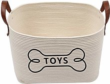 Xbopetda Dog Toy Box, Cotton Rope Dog Toy Basket,