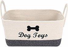 Xbopetda Woven Dog Toy Storage Basket, Cotton Rope