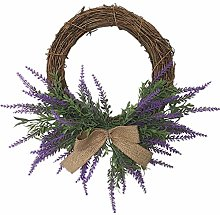 XBSXP Artificial Lavender Wreath, Purple Silk