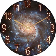 XBSXP Glass Starry Sky Wall Clock Personality Art