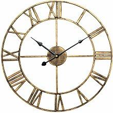 XBSXP Open Face Clock Round Iron - Roman Retro