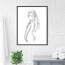 XCDFFJJ Abstract Female Body One Line Drawing