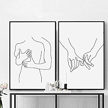 XCDFFJJ Wall Art Canvas Painting Abstract Couple