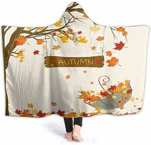XCNGG Autumn Maple Drawing Hoodie Wearable Blanket