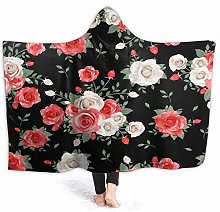 XCNGG Awesome Red Rose Flower in Black Hoodie