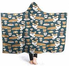 XCNGG Coffee Corgi Hoodie Wearable Blanket Flannel