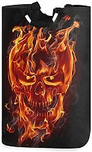 XCNGG Collapsible Laundry Basket 3D Fire Skull