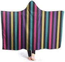 XCNGG Colored Striped Hoodie Wearable Blanket