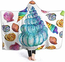 XCNGG Colorful Sea Shell Hoodie Wearable Blanket