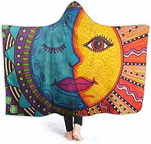 XCNGG Funny Sun Moon Face Painting Hoodie Wearable