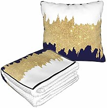 XCNGG Gold Shower Curtain Travel Pillow Blanket