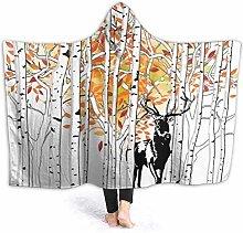 XCNGG Trees Foliage Wilderness Deer Hooded Blanket