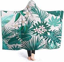 XCNGG Tropical Green Leaves Hooded Blanket