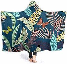 XCNGG Tropical Leaf Butterflies Hooded Blanket