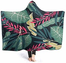 XCNGG Tropical Leaf Hooded Blanket Windproof Cozy