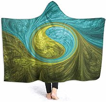 XCNGG Vortex Abstract Blue Green Hooded Blanket