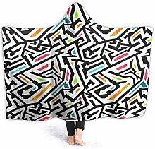 XCNGG Wall Line Graffiti Hoodie Wearable Blanket