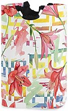 XCNGG Watercolor Red Lily Laundry Basket Washing