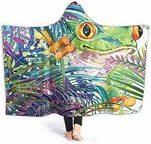 XCNGG Watercolor Tree Frog Hooded Blanket