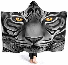 XCNGG White Tiger Face Hoodie Wearable Blanket