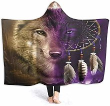 XCNGG Wolf and Dream Catcher Hooded Blanket