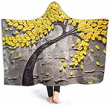 XCNGG Yellow Oil Painting Tree Hoodie Wearable
