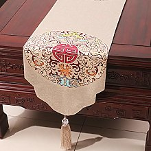 XCSLH Table Runners,Beige Vintage Chinese Style