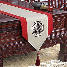 XCSLH Table Runners,Chinese Style Beige Cotton And