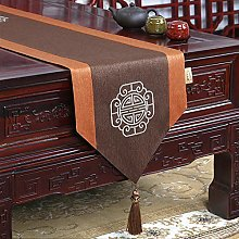 XCSLH Table Runners,Chinese Style Brown Cotton And