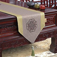 XCSLH Table Runners,Chinese Style Khaki Cotton And