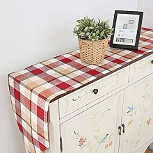 XCSLH Table Runners Japanese Style Red Plaid