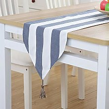 XCSLH Table Runners Modern Simple Blue Stripes