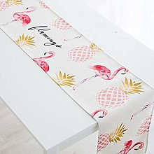 XCSLH Table Runners,Pink Flamingo Pineapple Cotton