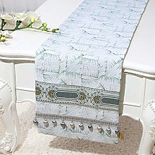 XCSLH Table Runners,Vintage Classic Green White