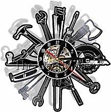 xcvbxcvb Carpenter tool vinyl record wall clock