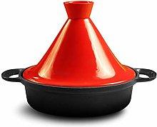 XCXDX Moroccan Tagine, 3L Cast Iron Pot, Bright