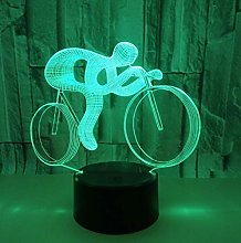 xczxc 3D LED Illusion Lamp Ride a Bike Bedside