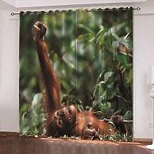 xczxc Blackout Curtain kids Jungle orangutan 100%