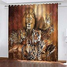 xczxc Blackout Curtain kids Lion tiger cheetah