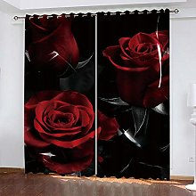 xczxc Blackout Curtains 2 Panels Set Red rose in