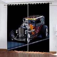xczxc Kids Blackout Curtains Black flame car
