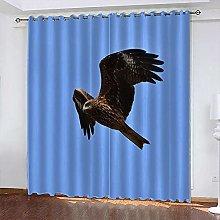 xczxc Kids Blackout Curtains Black flying eagle